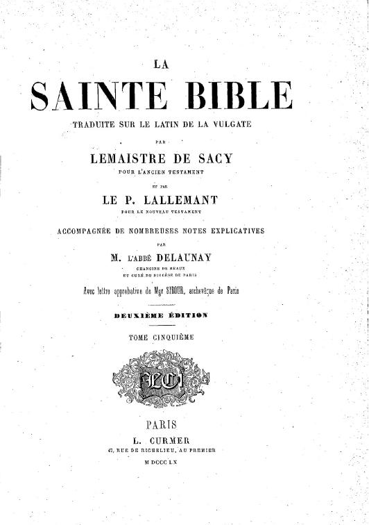 Bible Sacy 1860